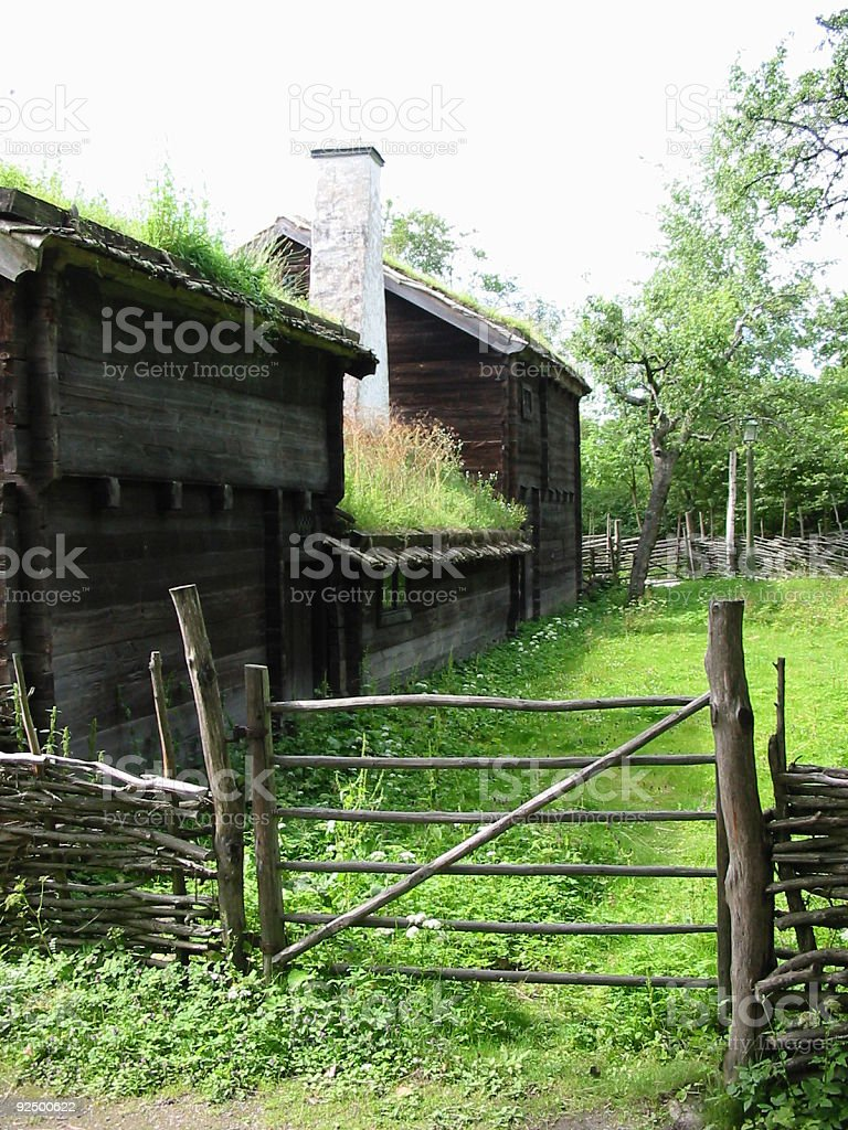 Fence at the wooden house royalty-free stock photo