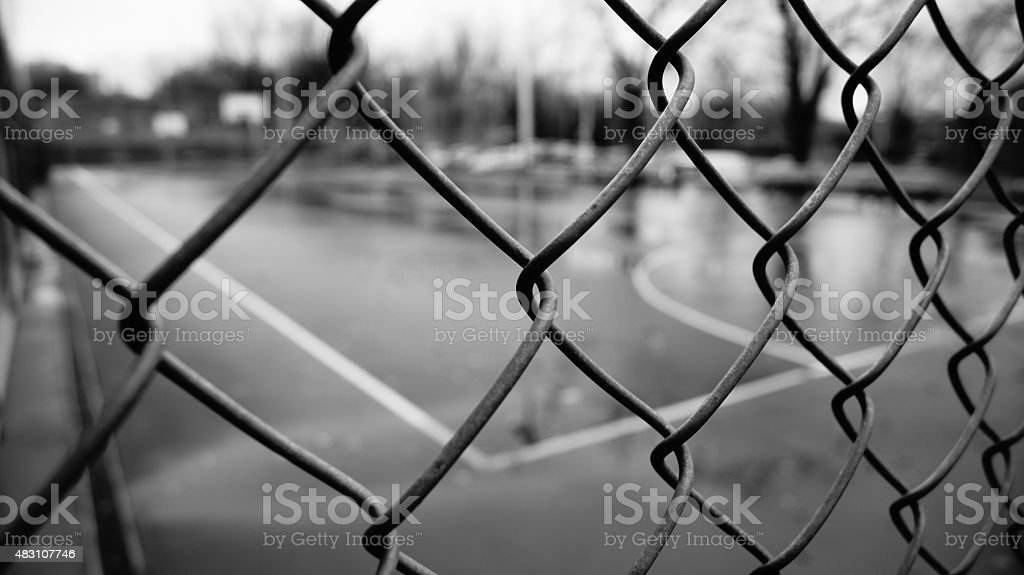 Fence Basketball Courts (black and white) stock photo