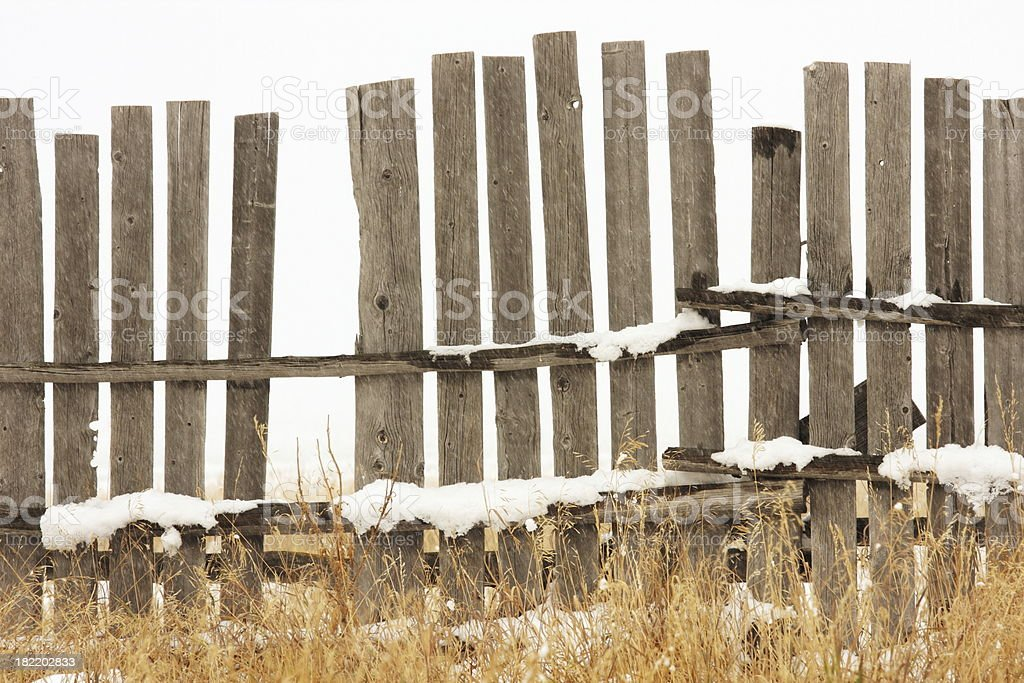 Fence Broken Plank Snow Storm royalty-free stock photo