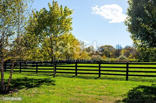 Fence for horses pasture on farm estate grounds in Virginia countryside in Frederick county during autumn fall season with green grass landscape