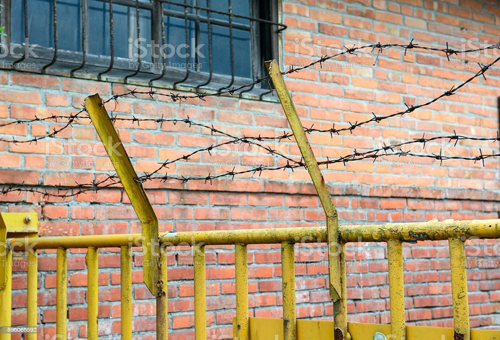 fence from barbed wires royalty-free stock photo
