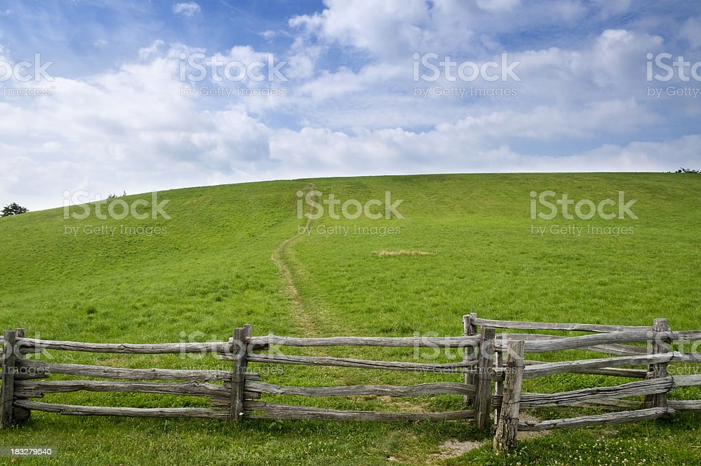 Fence Grass and Sky royalty-free stock photo