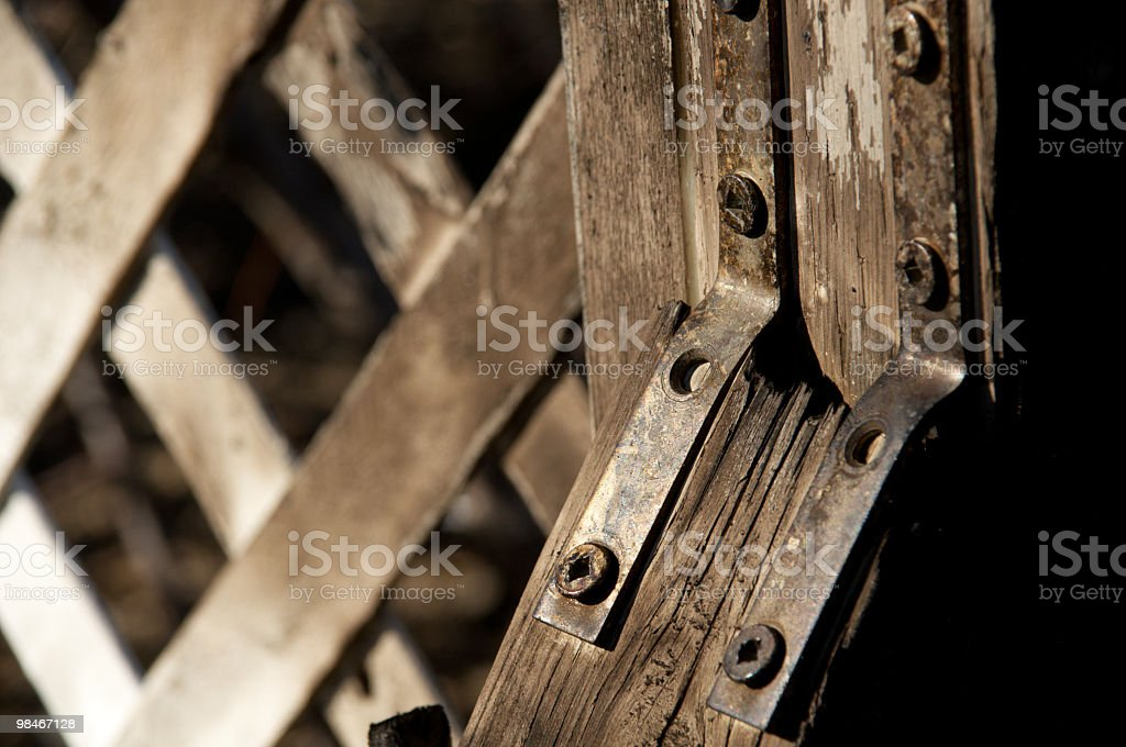Fence hardware after fire. royalty-free stock photo