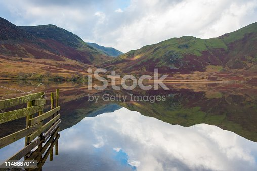 Early morning on the shore of Crummock Water a lake situated in the area called The Lake District in Cumbria,UK.            The Lake District is a UNESCO World Heritage Site.