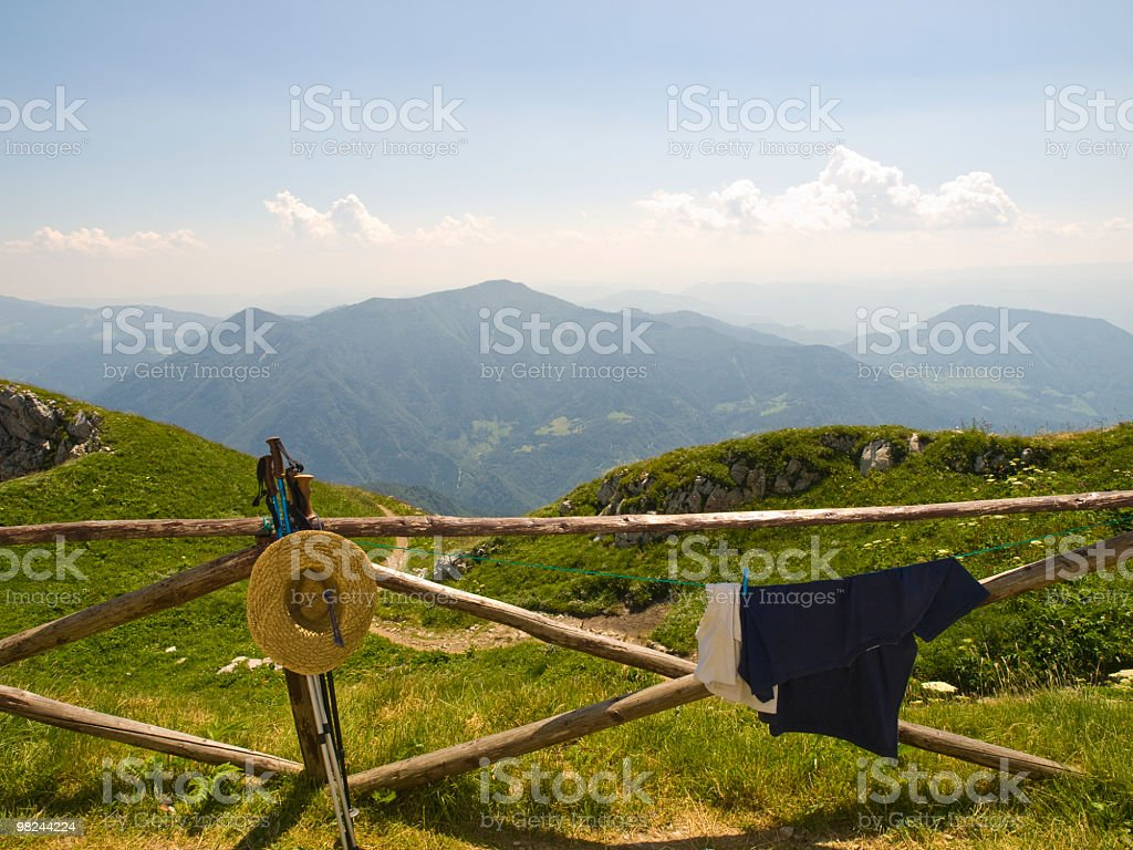 Fence in mountains royalty-free stock photo