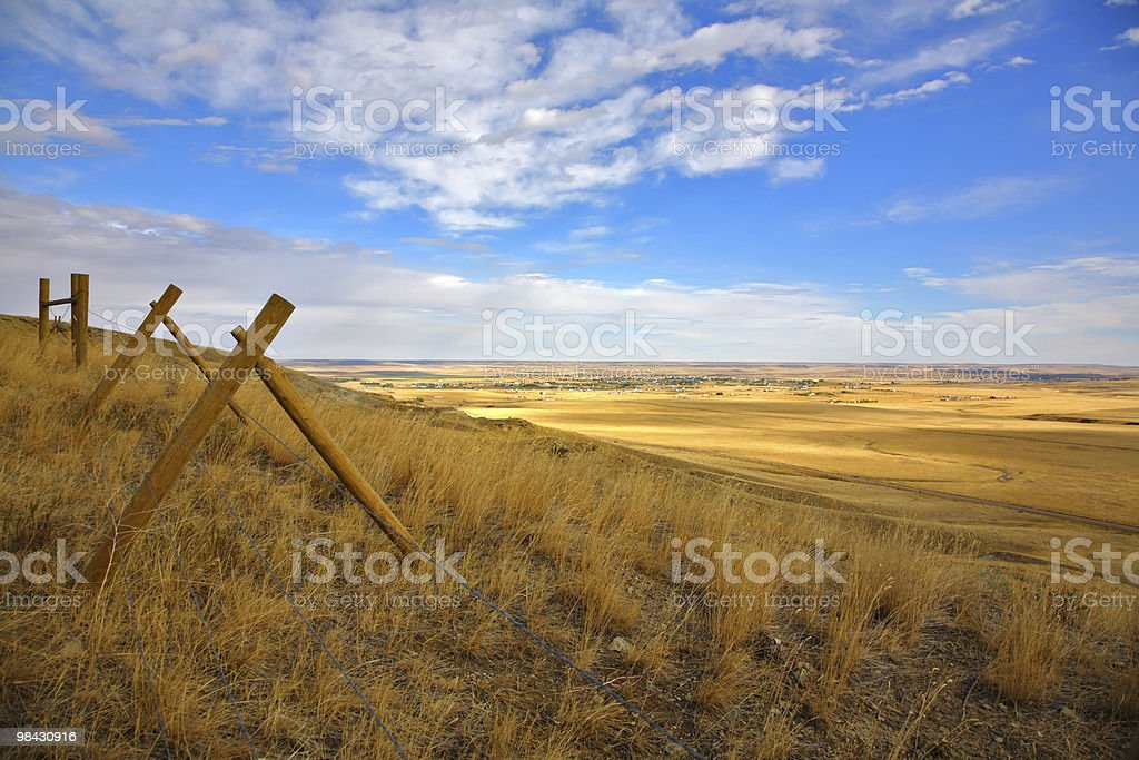 Fence in the American prairie stock photo