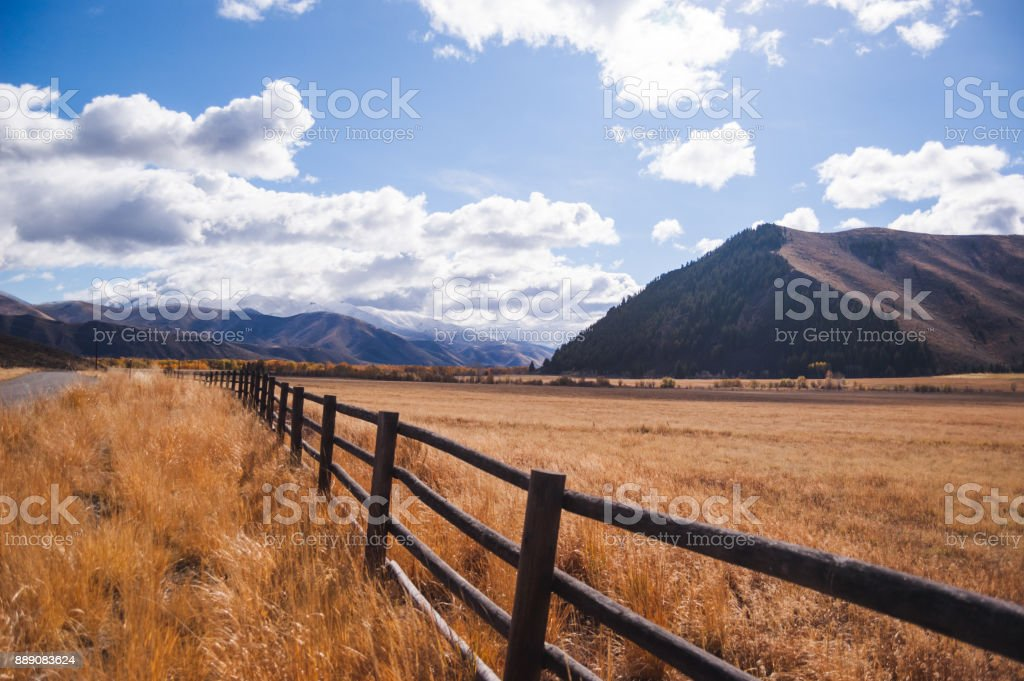 Fence Line in Rural Countryside stock photo