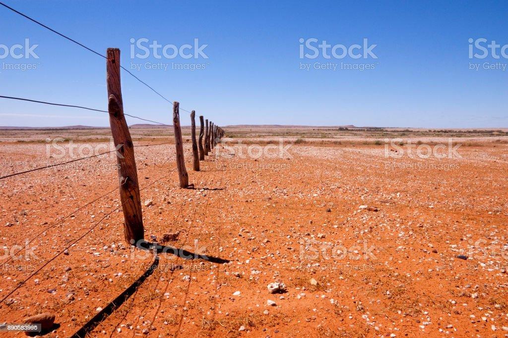 Fence Line Queensland Australia stock photo