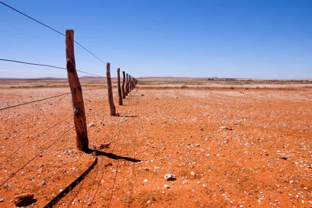 fence line queensland australia - queensland foto e immagini stock