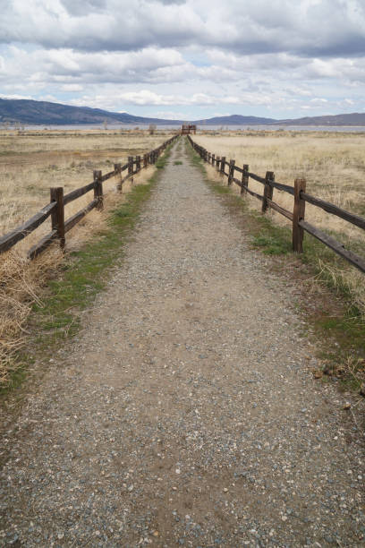 A fence lined trail in Washoe Valley stock photo