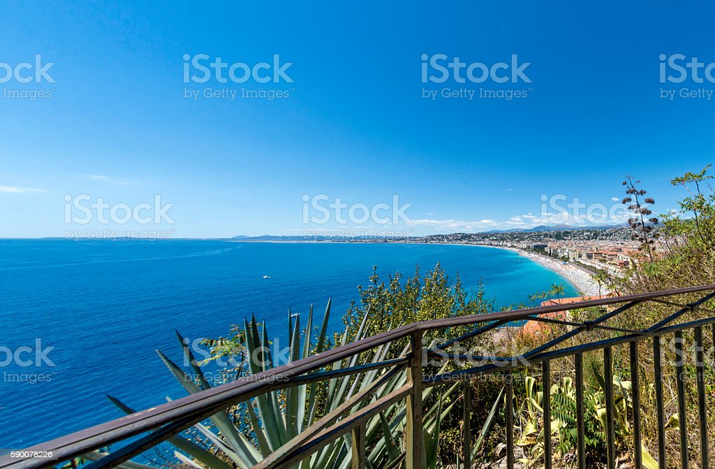 Fence looking over Nice, France stock photo