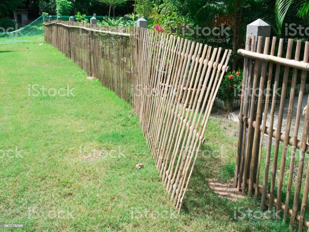 Fence Made from Bamboo Create is The Wall stock photo