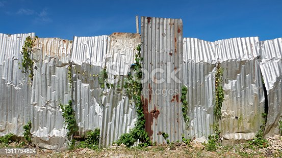 istock Fence made from corrugated metal sheets 1311754824