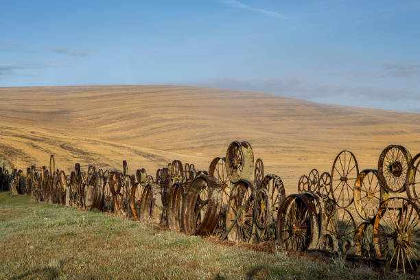 Fence made of old wheel and gears on the palouse. stock photo