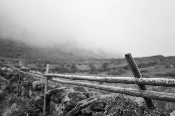 Fence near Sapa, Vietnam stock photo