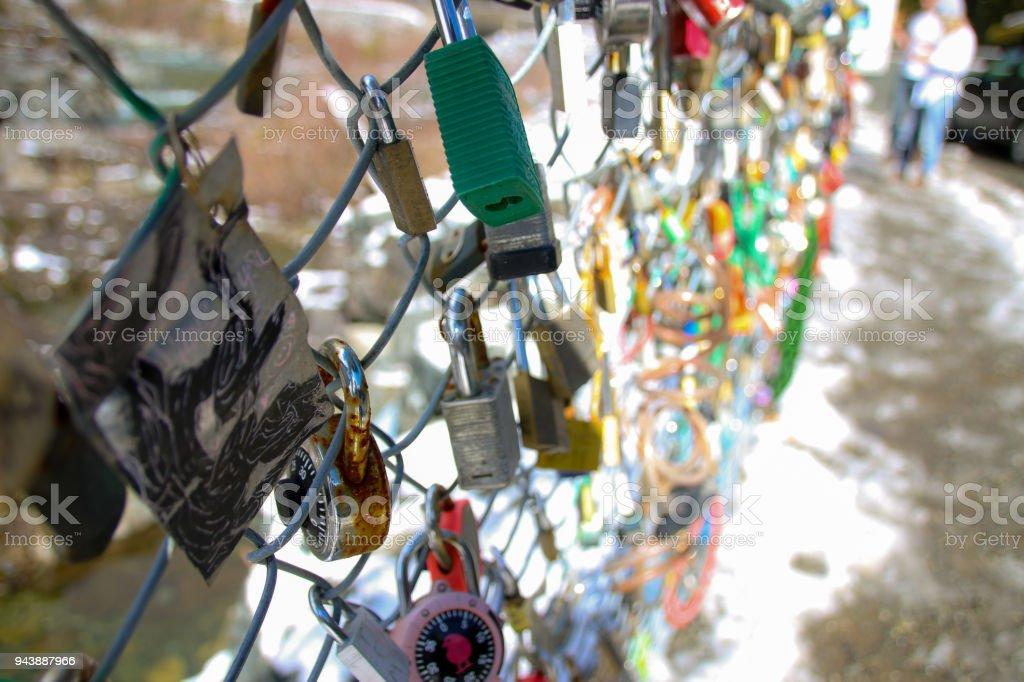 Fence of Locks stock photo