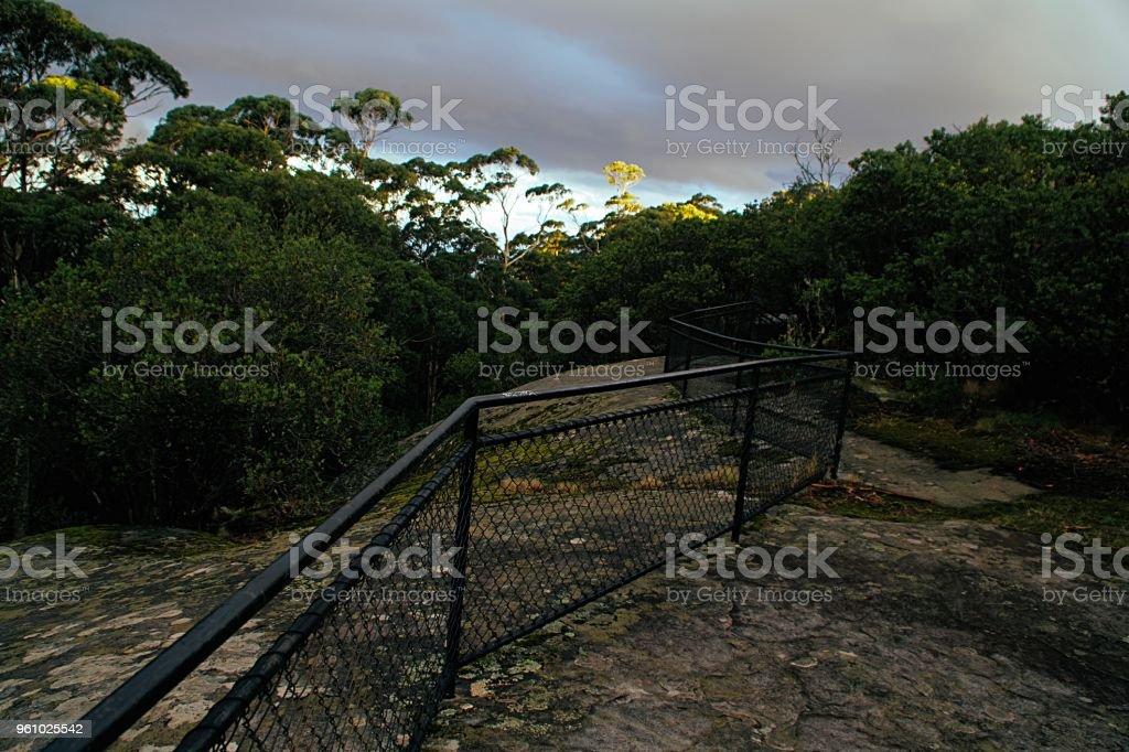 Fence on a mountain stock photo