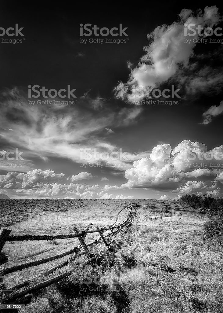 Fence on Gros Ventre Road royalty-free stock photo