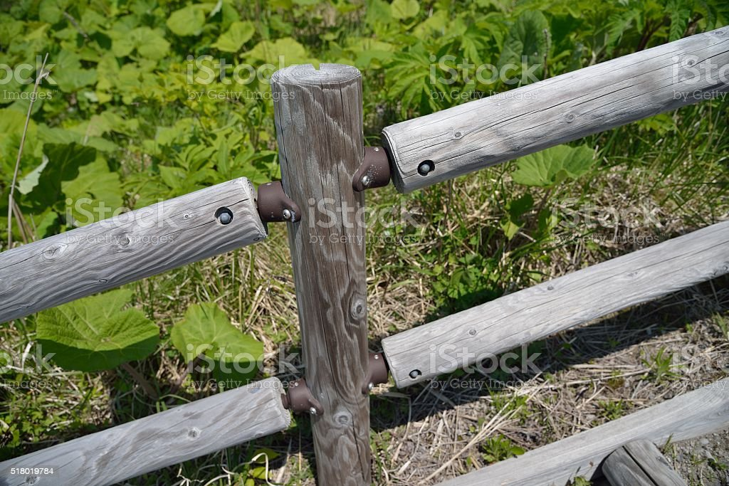 fence on hill in Japan stock photo