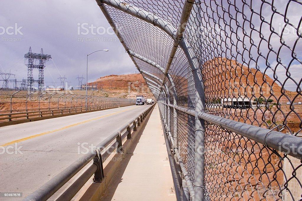 Fence on the Glen Canyon Bridge royalty-free stock photo