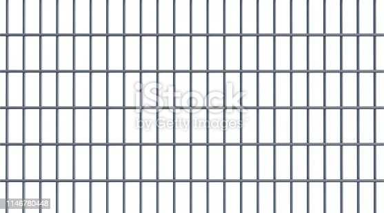 Fence on white background. Horizontal composition with copy space.