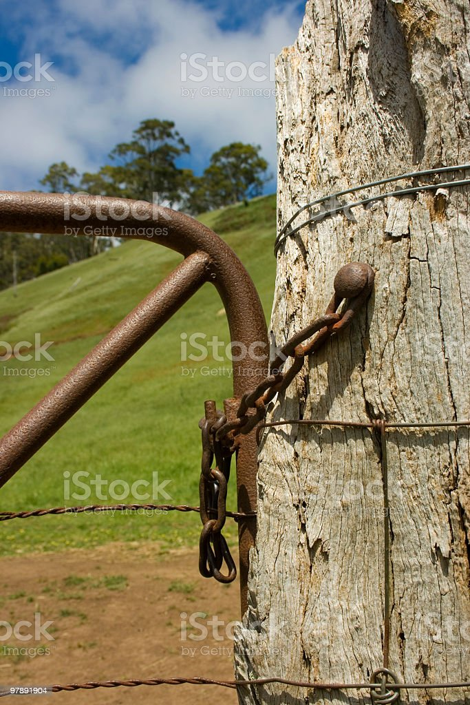 Fence Post and Latch royalty-free stock photo