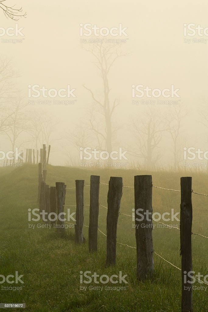 Fence, Spring, Cades Cove, Great Smoky Mtns NP stock photo