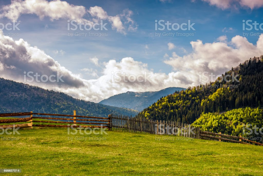 fence through the grassy meadow in mountains stock photo