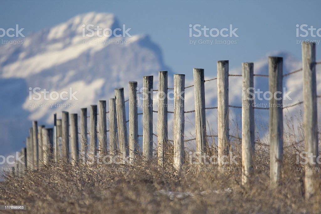 Fence to the Rockies stock photo