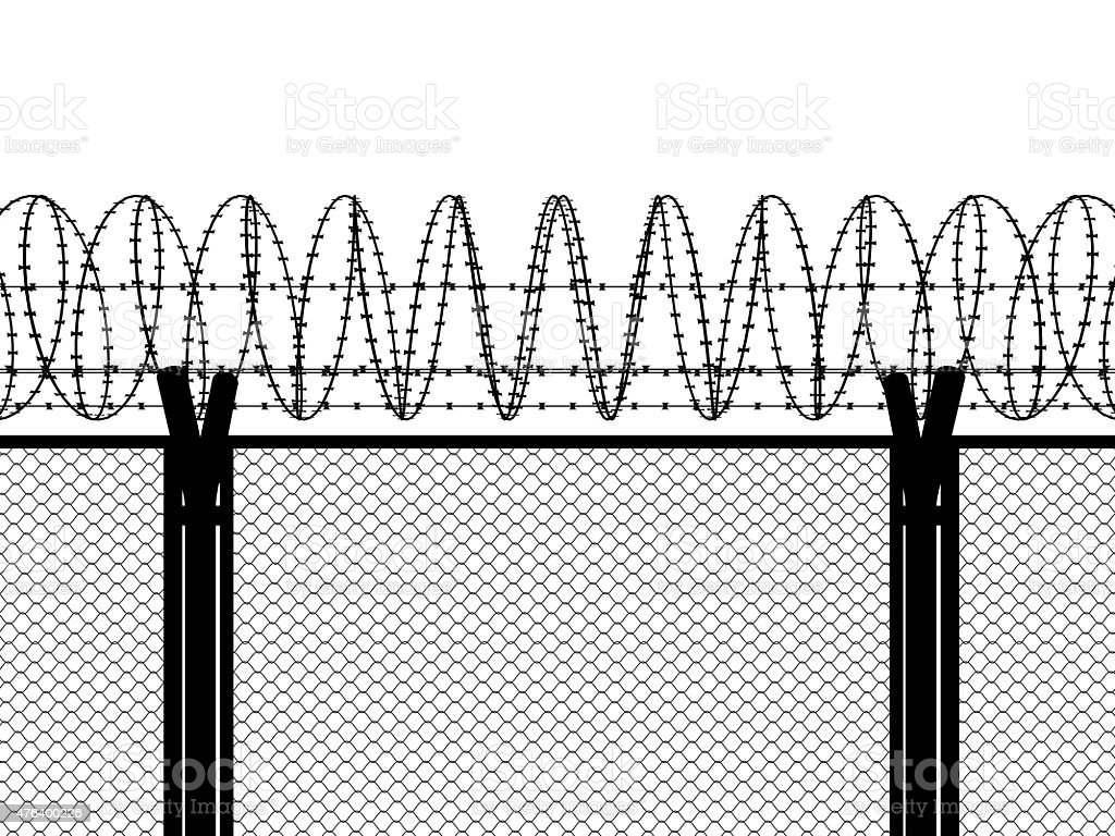 Fence with a barbed wire stock photo