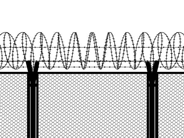 Fence with a barbed wire Fence with a barbed wire, silhouette illustration antiterrorist stock pictures, royalty-free photos & images