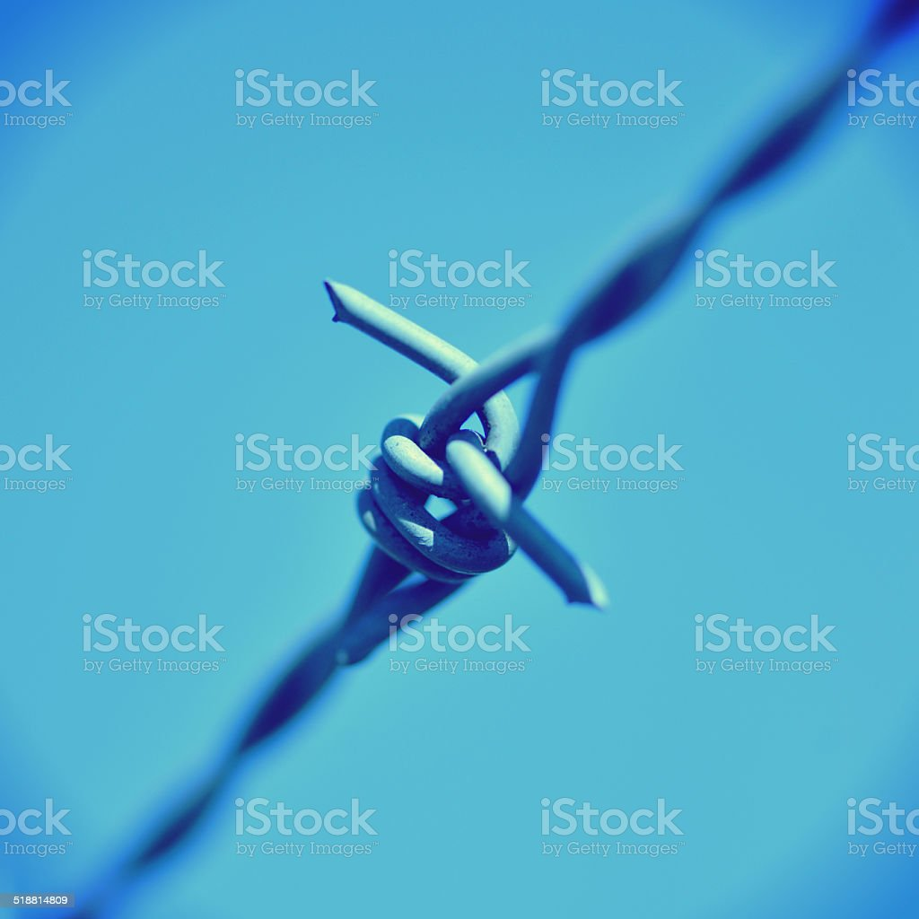 fence with barbed wire in front of great blue sky. stock photo