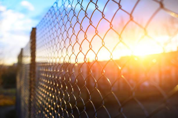 fence with metal grid in perspective - staccionata foto e immagini stock
