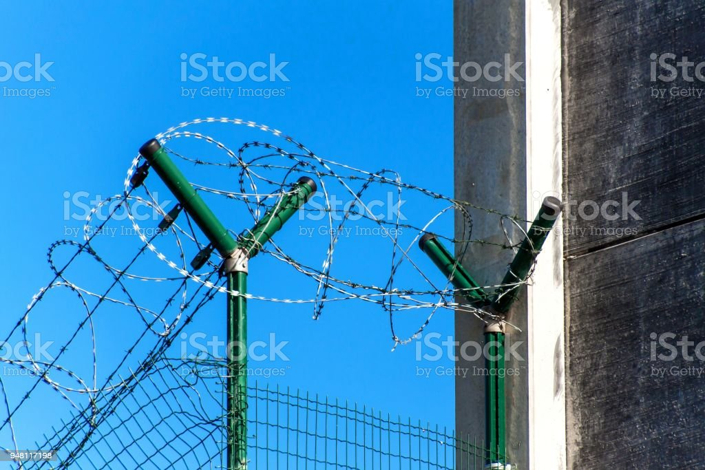 Fence With Razor Barbed Wire Guarded Area Military Base Razor Wire ...