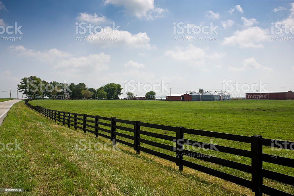 A fenced, green field, with farm buildings in the distance royalty-free stock photo