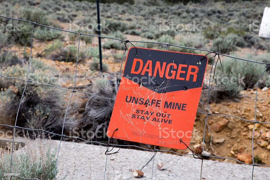 Fenced Off Abandon Mine In Nevada Stock Photo & More Pictures of