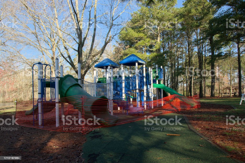 Fenced Off Playground In Forest Park Stock Photo Download Image Now Istock