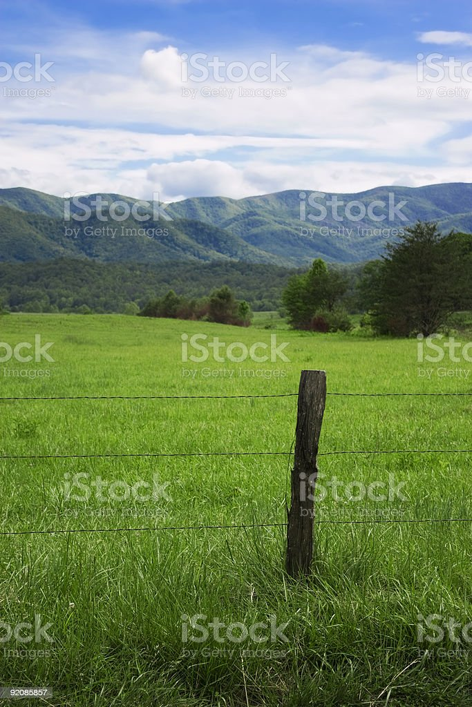 fencepost among the mountains royalty-free stock photo