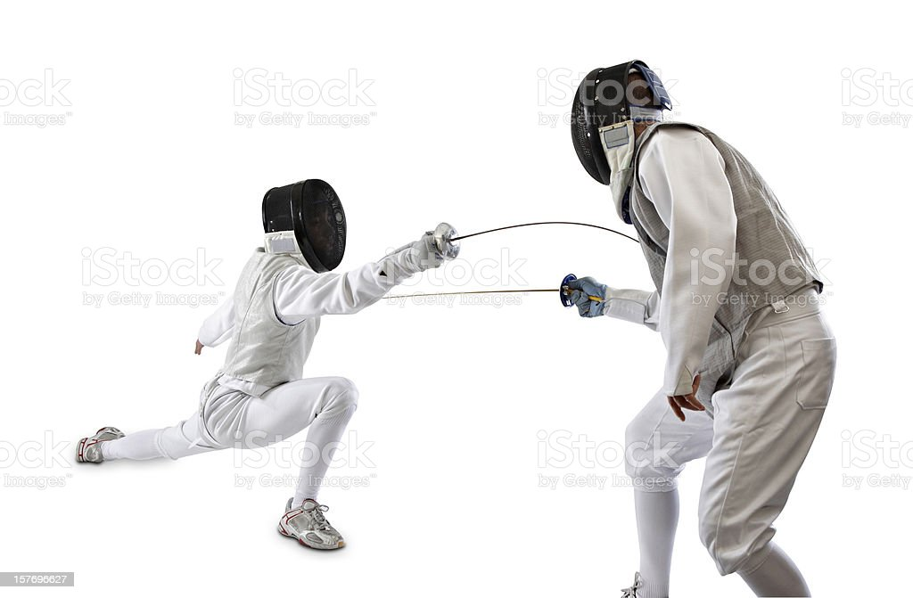 Fencer fight royalty-free stock photo