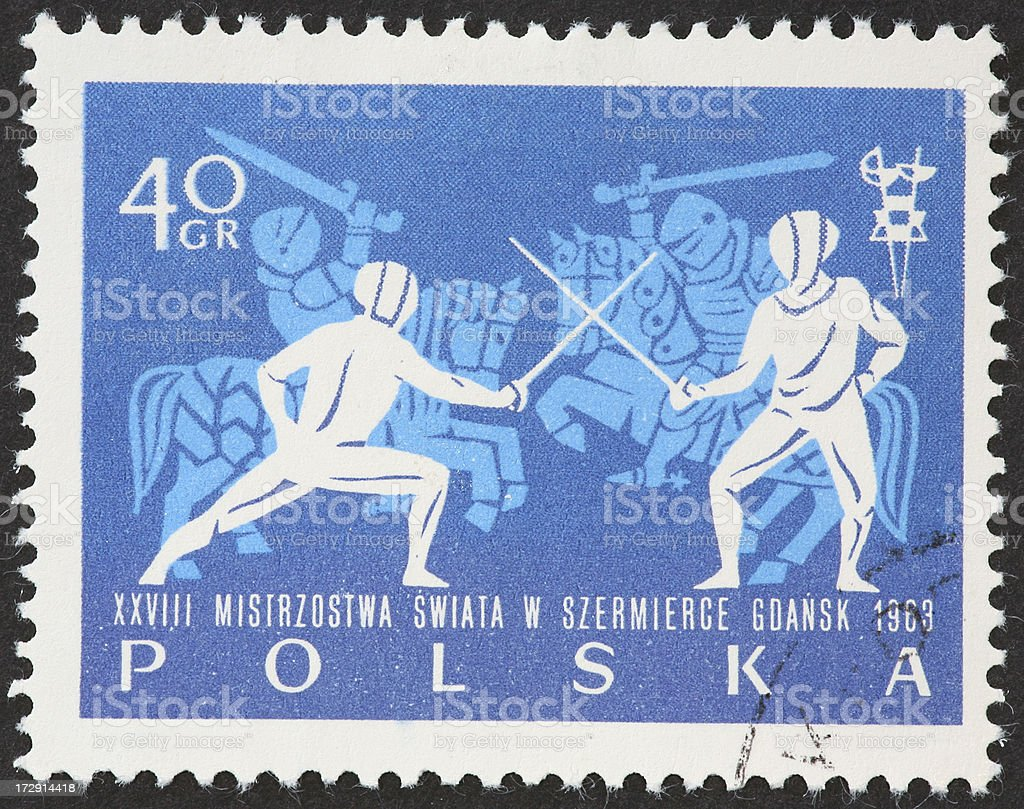 Polish stamp with silhouettes of fencers and jousters.