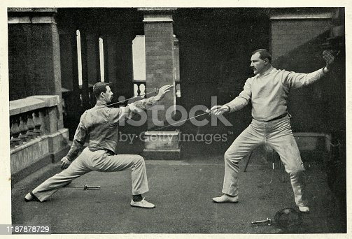 Vintage photograph of Fencing masters of the 1st Life Guards, 19th Century