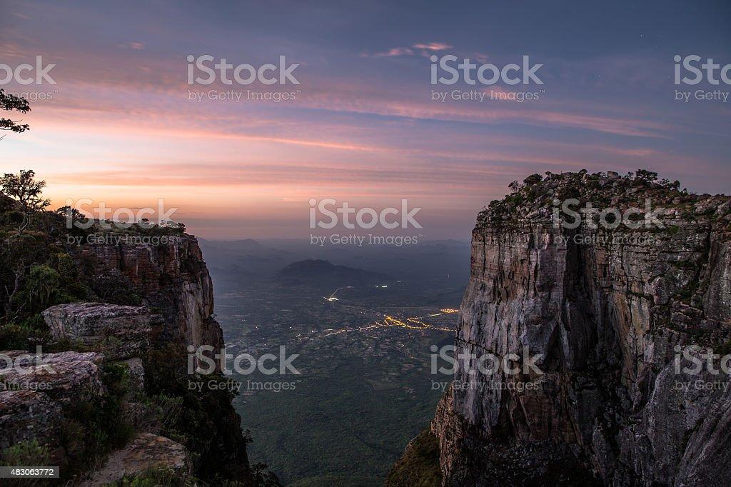 Fenda da Tundavala Tundavala Gap (in Portuguese, Fenda da Tundavala) is a viewpoint in the rim of the great escarpment called Serra da Leba. It is located some 18 km from the city of Lubango, in Huíla province, Angola. 2015 Stock Photo