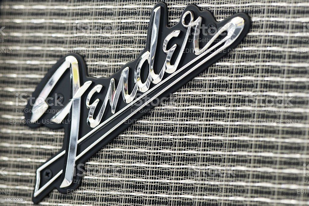 Fender logo on guitar amplifier royalty-free stock photo