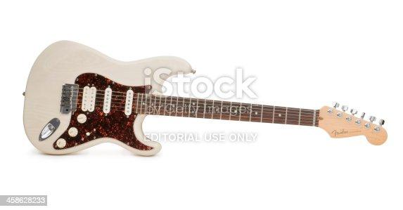 Medina, Ohio, USA - February 8, 2011: A Fender Stratocaster Guitar, photographed on a white background.