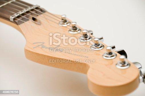 Medina, Ohio, USA - February 8, 2011: A Fender Stratocaster Guitar, close-up.
