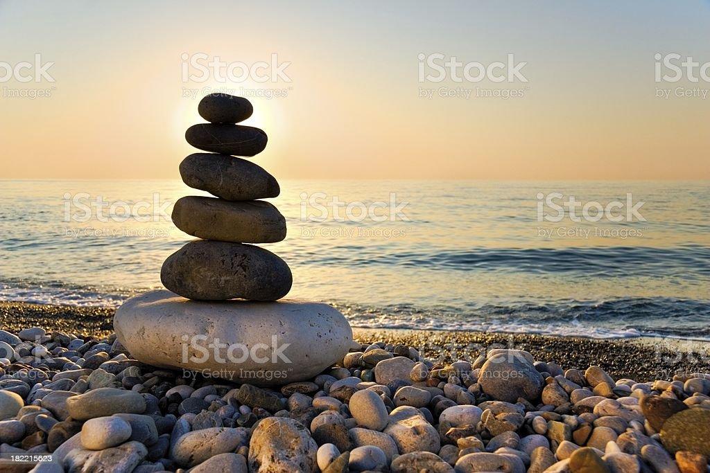 Feng Shui balance. Daybreak stock photo