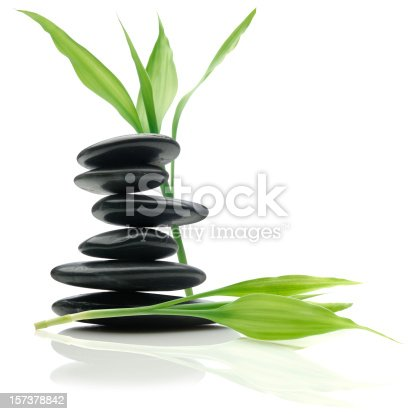 Balanced Stones and Bamboo Leaves on White.