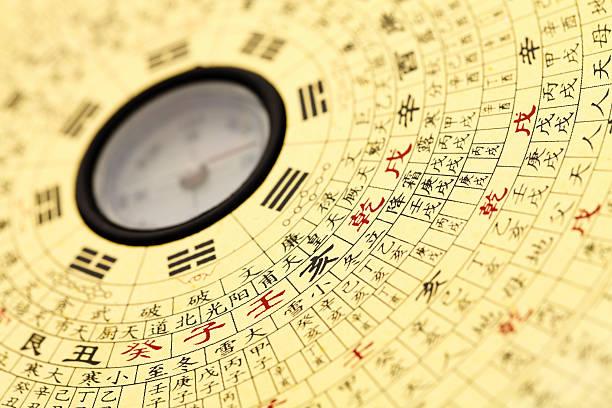 feng shui kompass. - chinesischer kalender stock-fotos und bilder