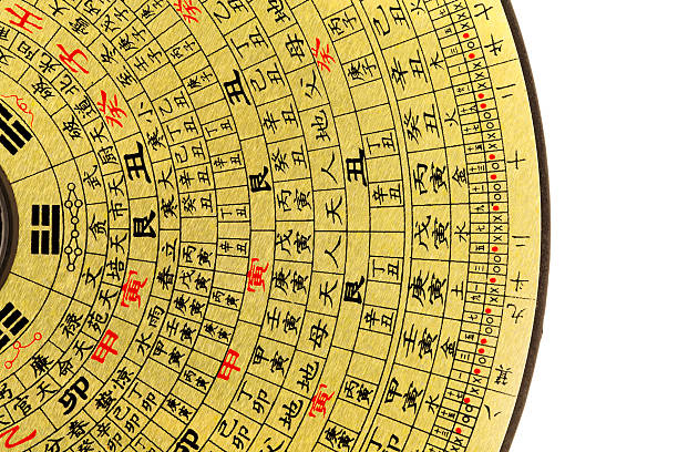 feng shui kompass - chinesischer kalender stock-fotos und bilder