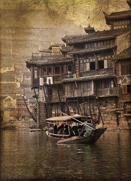 Fenghuang, phoenix de la ciudad en China, vintage sepia proceso - foto de stock